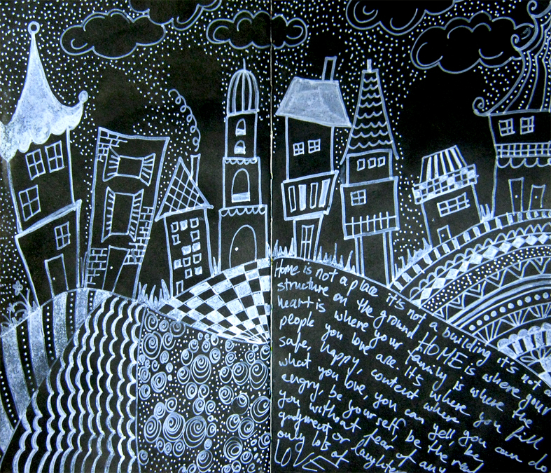 Einat kessler black art journal page with white doodling