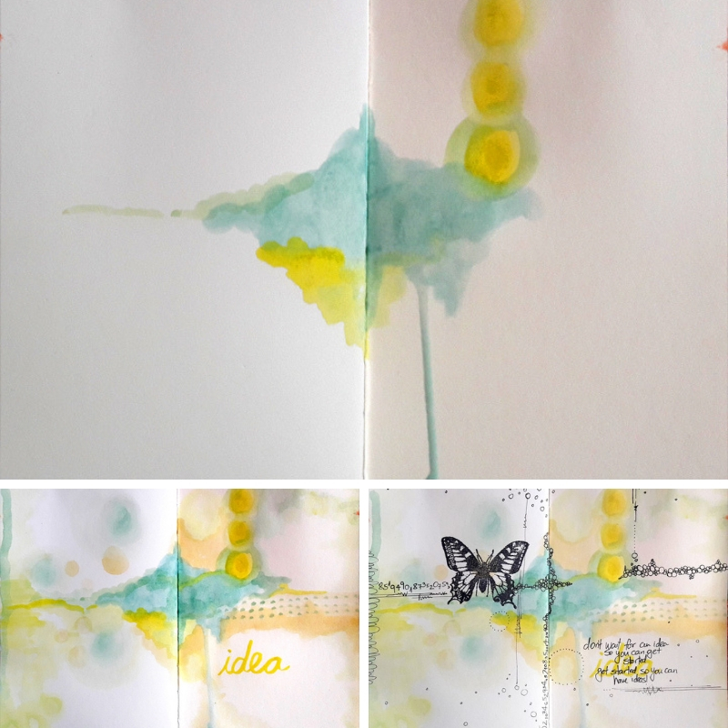 collage of art journaling pages with watercolors