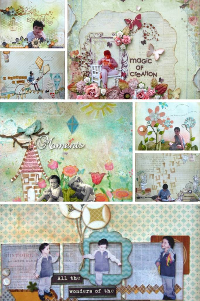 cut images on scrapbook page collage
