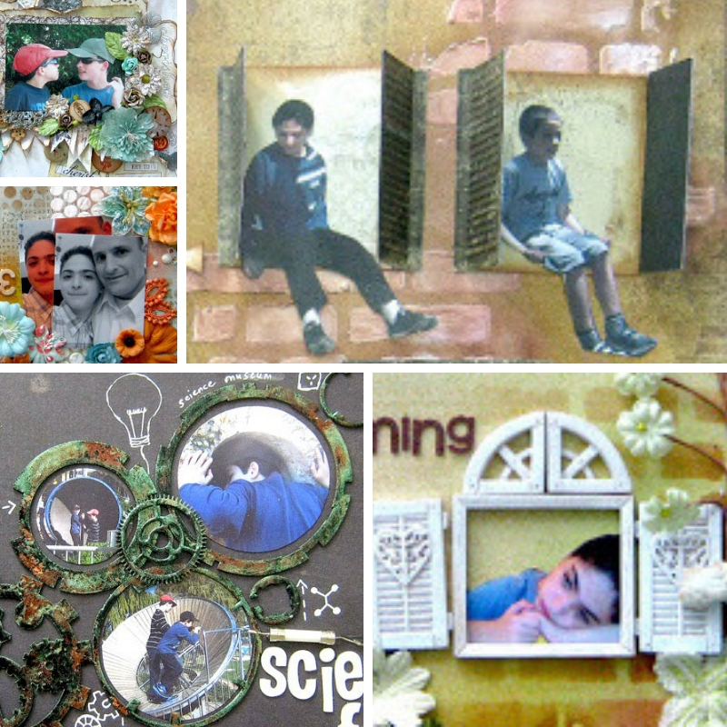 framing photos on scrapbook layout collage