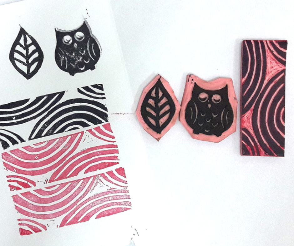 carved stamps and sample of stamping