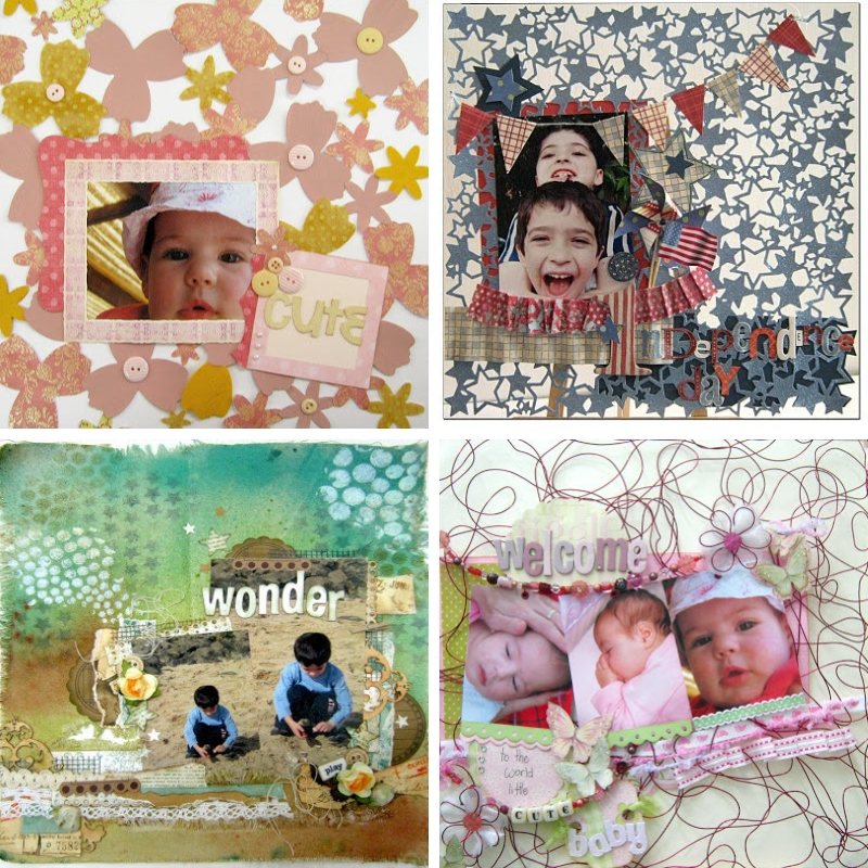 DIY scrapbook papers collage